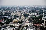 Вид на город Екатеринбург со смотровой площадки бизнес-центра Высоцкий. Архивное фото