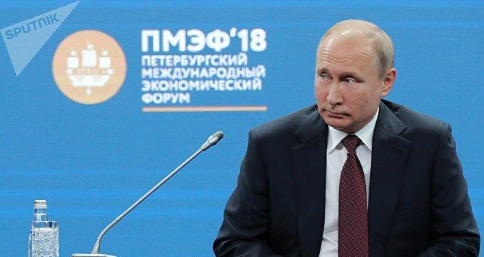 Президент РФ Владимир Путин во время бизнес-диалога Россия - Франция в рамках Петербургского международного экономического форума - 2018.