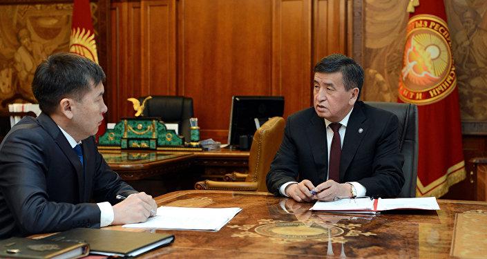 Президент КР Сооронбай Жээнбеков принял председателя Государственного комитета национальной безопасности Кыргызстана Идриса Кадыркулова. Архивное фото