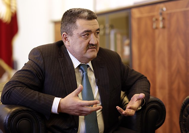 Новый мэр Бишкека Албеком Ибраимов во время интервью.