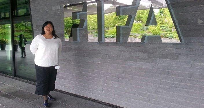 Кыргызстанка Тынара Мавлянова, которая стала офицером безопасности Международной федерации футбола (FIFA)