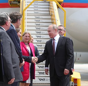 Президент РФ Владимир Путин во время встречи в аэропорту Швехат в Вене.