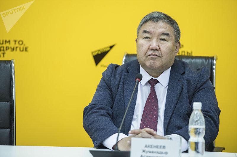 Доктор экономических наук Жумакадыр Акенеев в ходе видеомоста в мультимедийном пресс-центре Sputnik Кыргызстан