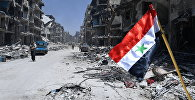 Флаг Сирии в освобожденном лагере палестинских беженцев Ярмук на юге Дамаска. Архивное фото