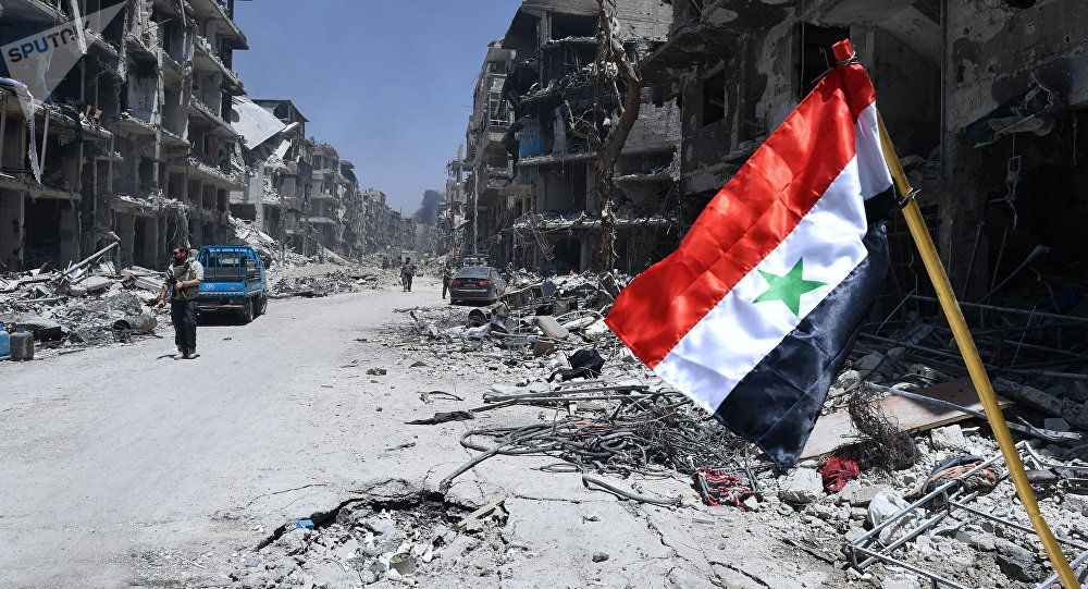 Дамаскта Сириянын желеги. Архивдик сүрөт