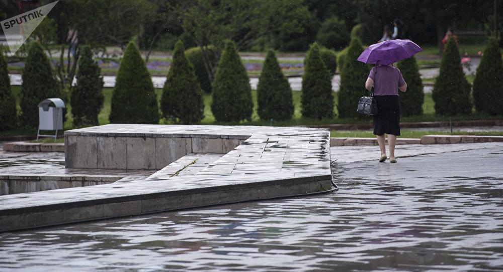 Женщина с зонтом на аллее молодежи во время дождя. Архивное фото