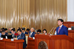 Премьер-министр Кыргызской Республики Мухаммедкалый Абылгазиев на пленарном заседании Жогорку Кенеша Кыргызской Республики представил отчет о работе Правительства Кыргызской Республики за 2017 год. 14 июня, 2018 год