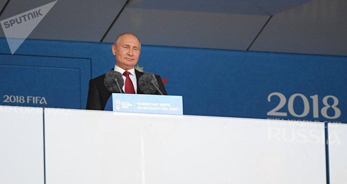 Президент РФ В. Путин и премьер-министр РФ Д. Медведев на церемонии открытия чемпионата мира по футболу - 2018
