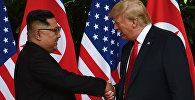 АКШ президенти Дональд Трамп жана Түндүк Кореянын лидери Ким Чен Ын. Архив