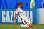 Александар Коларов (Сербия) радуется забитому голу в матче группового этапа чемпионата мира по футболу между сборными Коста-Рики - Сербии.