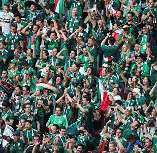 Болельщики сборной Мексики после окончания матча группового этапа чемпионата мира по футболу между сборными Германии и Мексики.
