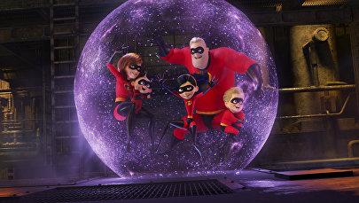 Это изображение, выпущенное Disney Pixar, показывает сцену из мультипликационного проекта Брэда Берда Суперсемейка 2