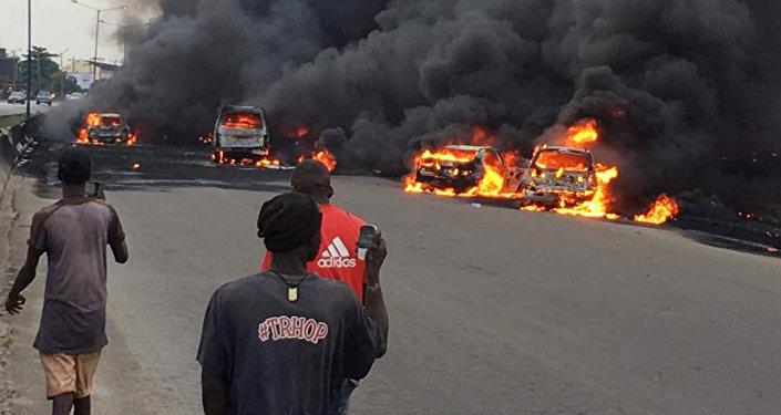 Пожар автоцистерны в Нигерии