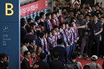 Футбольная команда Кубка мира Южной Кореи прибывает в международный аэропорт Инчхон 29 июня 2018 года после участия в Чемпионате мира по футболу 2018 года.