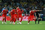 Игроки сборной Англии радуются победе в матче 1/8 финала чемпионата мира по футболу между сборными Колумбии и Англии.