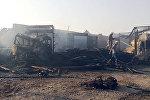 Баткен облусунун Лейлек районундагы май куюучу жайдын өрттөнүп кеткенден кийинки сүрөт
