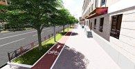 Эскиз планируемой велодорожки на проспекте Манаса/Чингиза Айтматова в Бишкеке. Архивное фото
