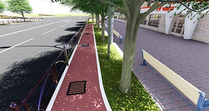 В рамках реконструкции дорожного полотна и восстановления асфальтового покрытия на проспекте Манаса/Айтматова будут созданы общественные пространства со скамейками для отдыха, архитектурные формы и велодорожки