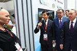 Президенты стран Центральной Азии встретились с роботом Софией на презентации Международного финансового центра Астана