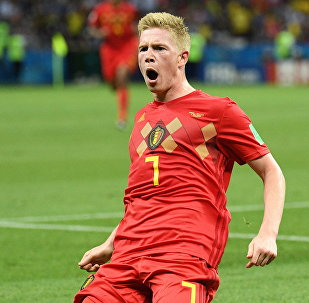 Кевин Де Брёйне (Бельгия) радуется забитому голу в матче 1/4 финала чемпионата мира по футболу между сборными Бразилии и Бельгии.