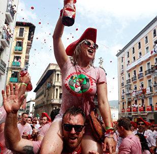 Традиционный испанский праздник Сан-Фермин в Памплоне