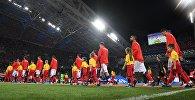 Игроки сборной России перед матчем 1/4 финала чемпионата мира по футболу между сборными России и Хорватии.