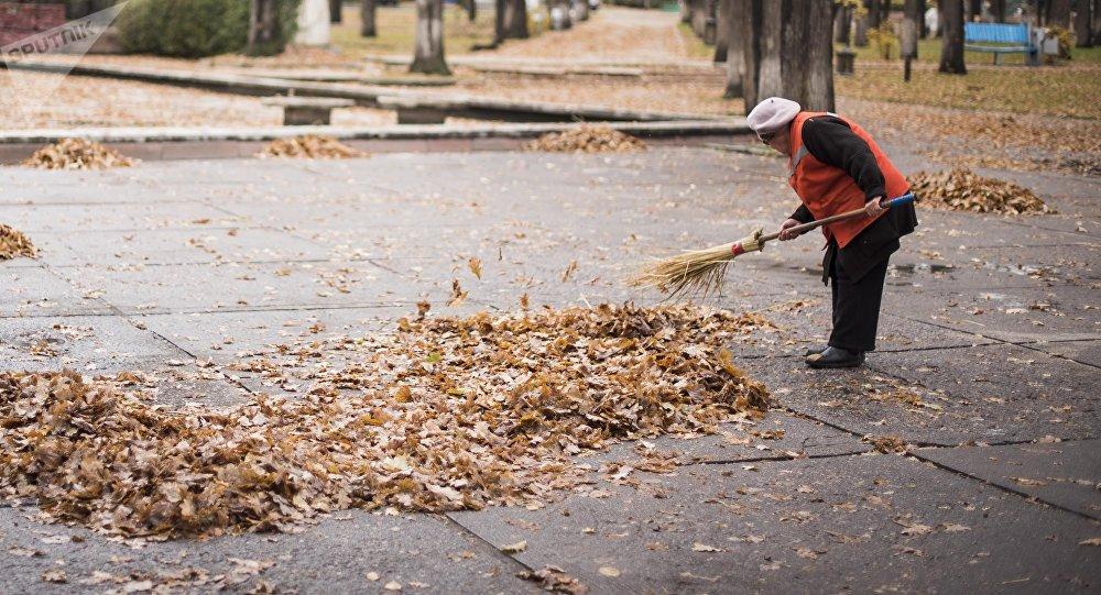 Сотрудница муниципального предприятия Тазалык во время уборки на бульваре Эркиндик в Бишкеке. Архивное фото