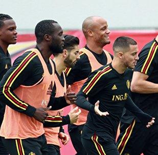 Бельгиялык футболчулар машыгуу учурунда
