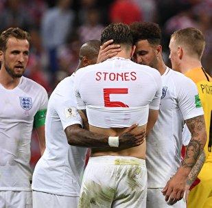 Футболисты сборной Англии в полуфинальном матче чемпионата мира по футболу между сборными Хорватии и Англии. Архивное фото