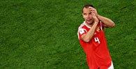 Сергей Игнашевич радуется победе в матче группового этапа чемпионата мира по футболу между сборными России и Египта.