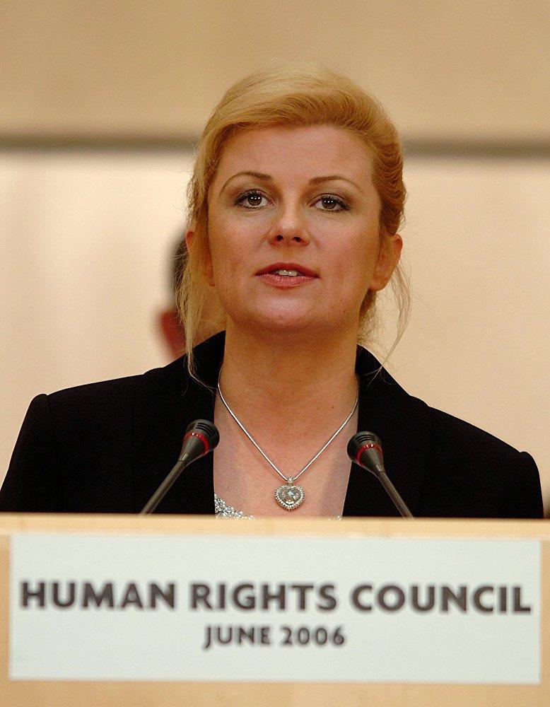 Министр иностранных дел и европейской интеграции Хорватии Колинда Грабар-Китарович выступает на открытии сессии Совета по правам человека Организации Объединенных Наций в штаб-квартире ООН в Женеве. Швейцария, 20 июня 2006 года