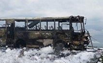 Пожар в рейсовом автобусе произошел в Северо-Казахстанской области