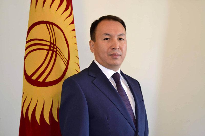 Заведующий отделом транспорта мэрии Бишкека Тилек Джеембаев у флага