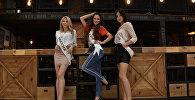 Участницы Мисс СНГ из России Арина Зинченко, Виктория Волгина, Жанара Хасенова (слева направо)