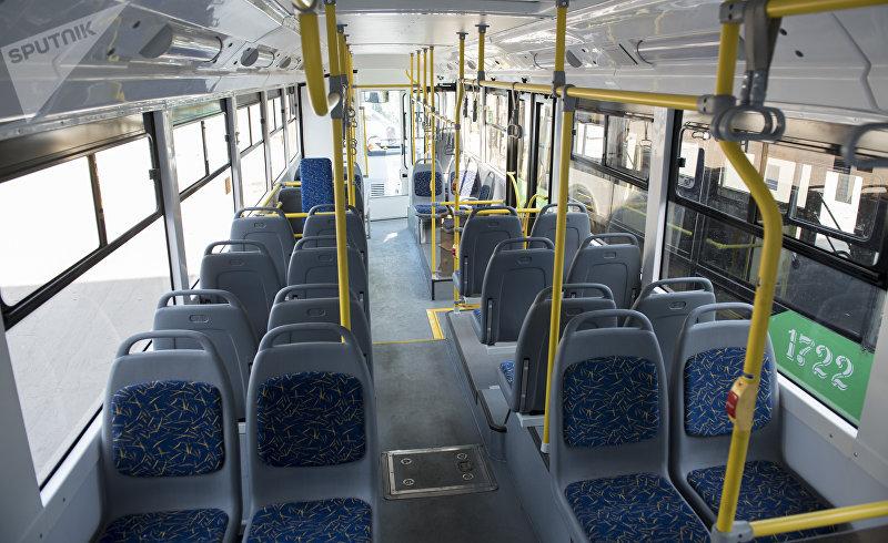 Салон новых троллейбусов закупленных троллейбусным управлением Бишкека