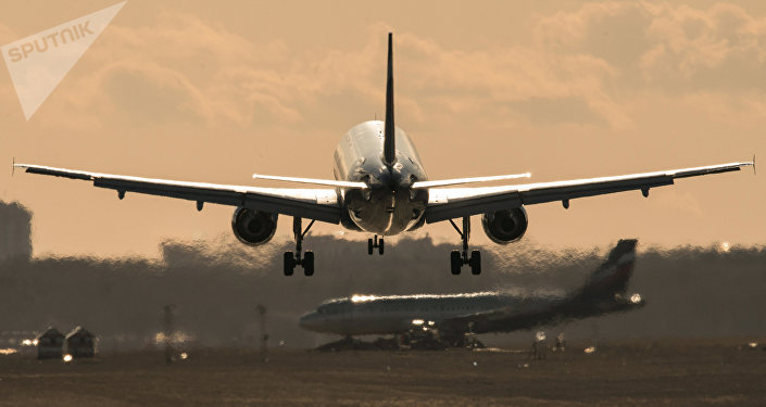 Самолет совершает посадку в аэропорту. Архивное фото