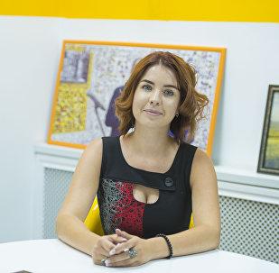 Тележурналист Кристина Босивская в студии Sputnik Кыргызстан. Архивное фото