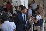 Новоизбранный мэр Бишкека Азиз Суракматов после выборов в здании мэрии