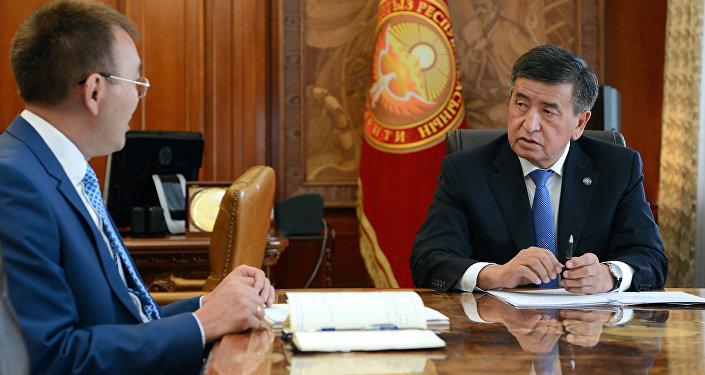 Президент Кыргызской Республики Сооронбай Жээнбеков принял председателя Национального банка страны Толкунбека Абдыгулова. 9 августа, 2018 года