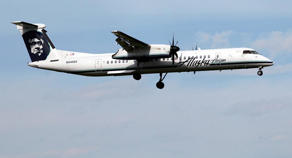 Самолет авиакомпании Alaska Airlines Air Bombardier Dash 8 Q400. Архивное фото