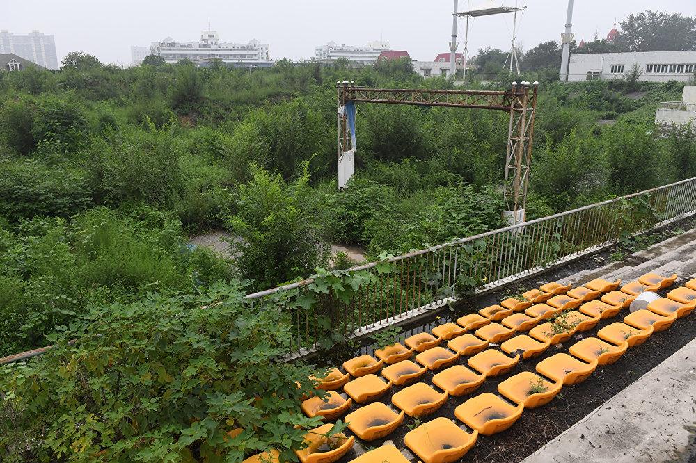 Пекинде 2008-жылы курулган олимпиадалык жай. Отургучтарды да чөп басып кетиптир. Бирок сыры өчпөптүр
