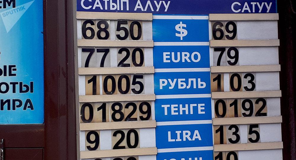 Табло с курсом валют в обменном бюро в Бишкеке