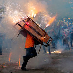 Никарагуанын Леон шаарындагы Ыйык Мария күнүн белгилөө учурундагы пиротехникалык иш-чара