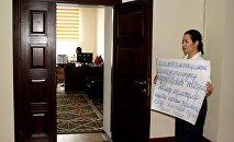 Уволенная после заявлений о коррупции пресс-секретарь Госэкотехинспекции Анара Мамбеталиева. Архивное фото