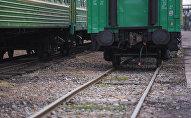 Бишкектеги темир жол бекетиндеги поезд. Архив