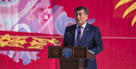 Президент Сооронбай Жээнбеков во время выстпуления на площади Ала-Тоо в Бишкек во время праздничных мероприятий в честь 27-летия независимости Кыргызстана