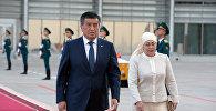 Кыргызстандын президенти Сооронбай Жээнбеков жана биринчи айым Айгүл Токоева. Архив