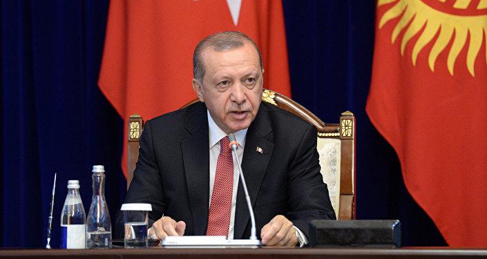 Президент Турецкой Республики Реджеп Тайип Эрдоган во время заявления для представителей сми по итогам двусторонних переговоров