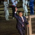 На открытии президент Кыргызстана Сооронбай Жээнбеков выступил с трибуны и поблагодарил за участие в церемонии своих коллег из Казахстана, Турции и Татарстана.