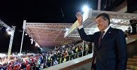 Президент Сооронбай Жээнбеков Көчмөндөрдүн дүйнөлүк үчүнчү оюндарынын ачылышында. Архивдик сүрөт